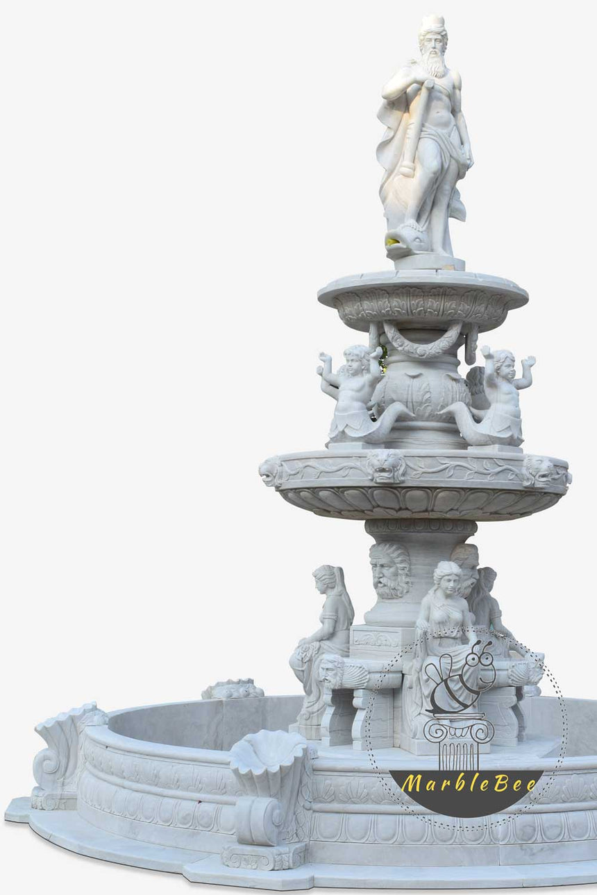 Large 3-tiered stone fountain with greek goddess statues