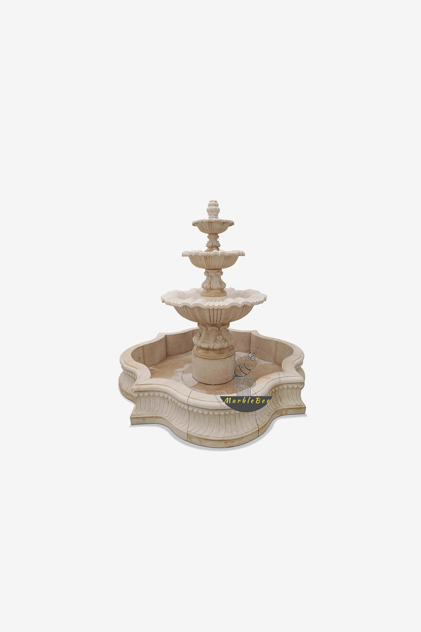 Beige 3-tiered garden fountain