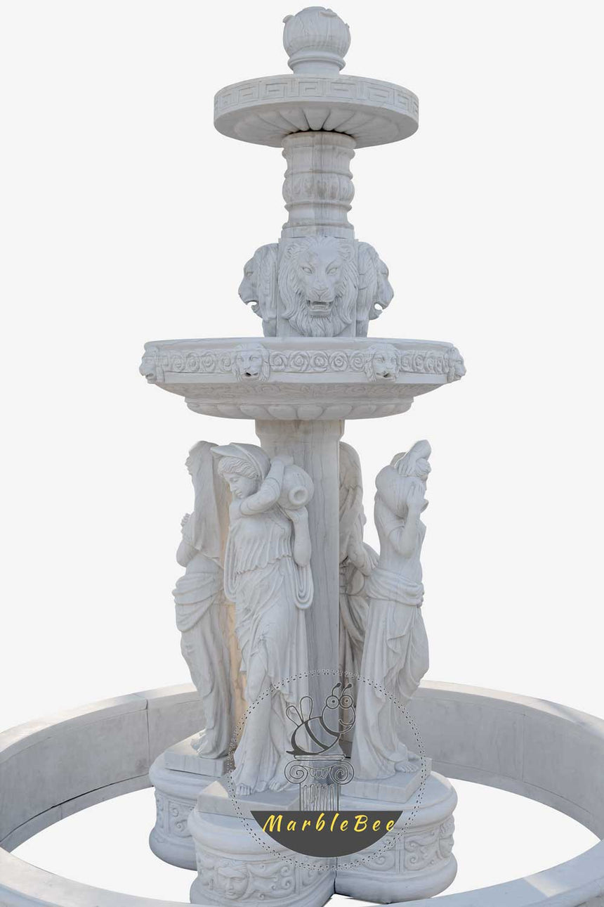 Small Garden fountain made from white marble and goddess sculptures
