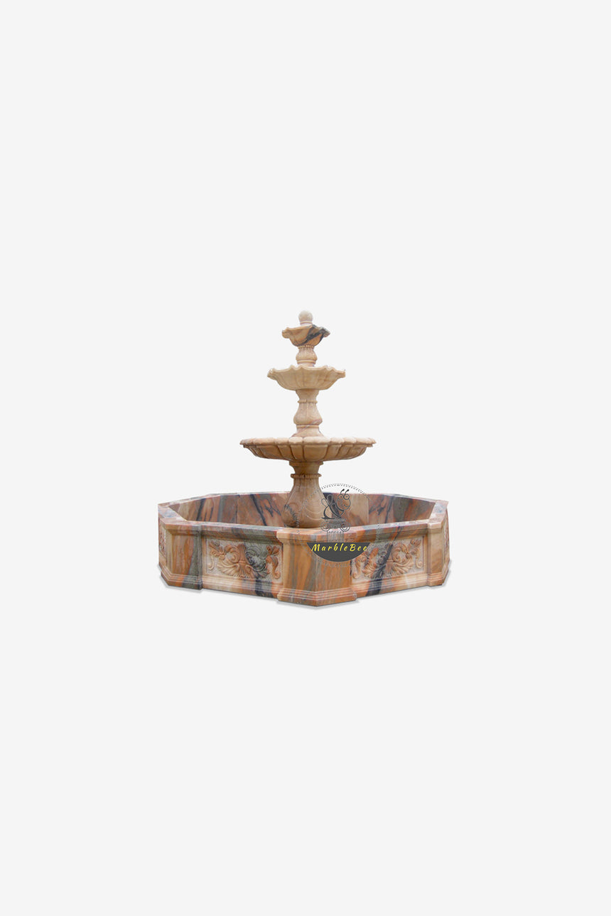 Rainbow natural stone three-tiered fountain