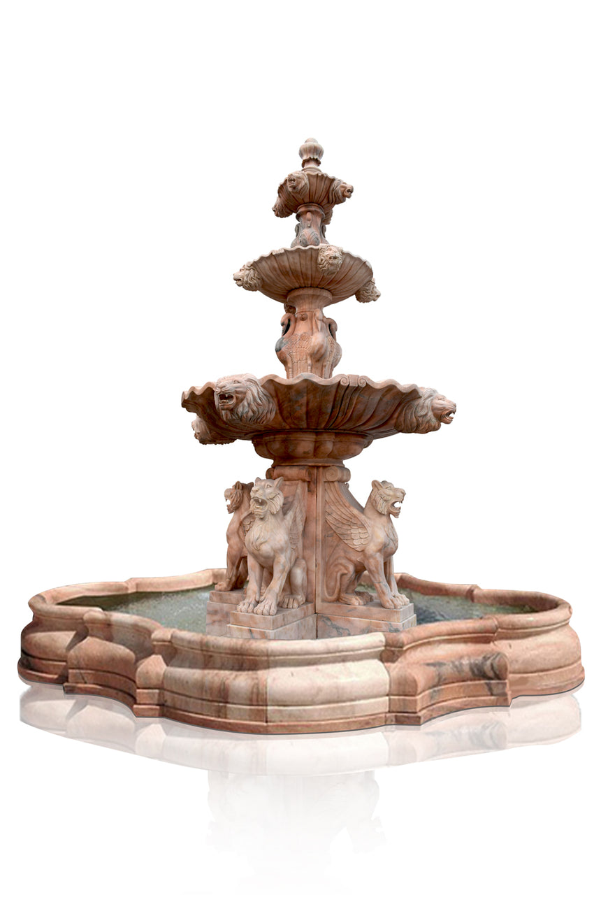 Flying Lion statues Marble Fountain, 3 tier stone fountain with lion head sprayers