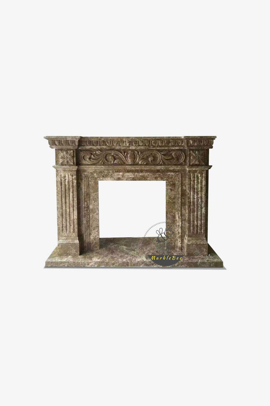 Emperador Dark Marble Fireplace