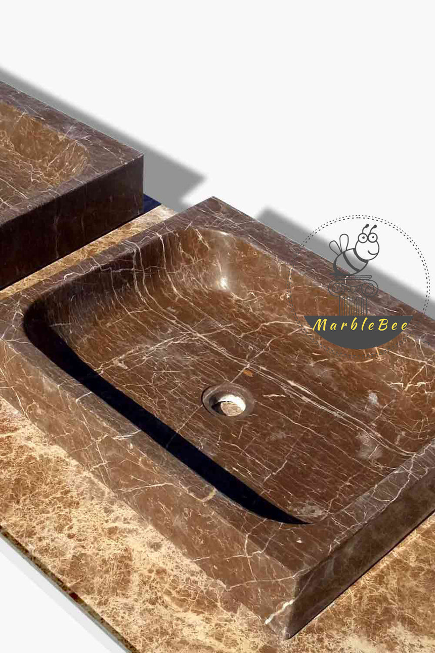 Contemporary design Square Basin Emperador dark marble basin