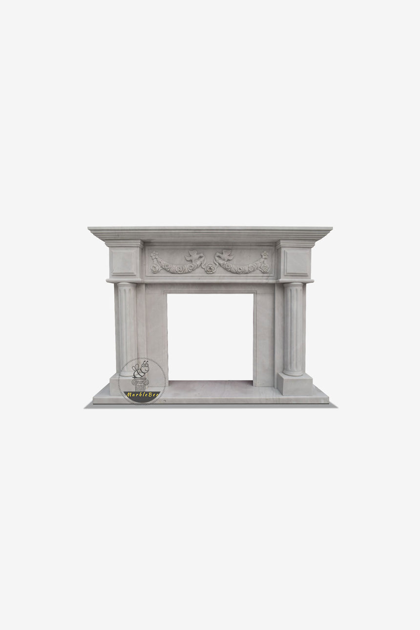 Pillars of Freedom Marble Mantel French Neoclassical Style