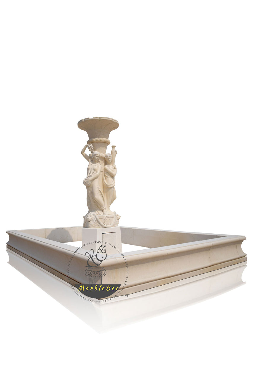 Garden fountain made by Natural stone, fountain with rectangular pool surround