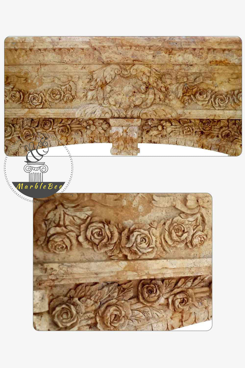 Renaissance style French Stone fireplace mantel