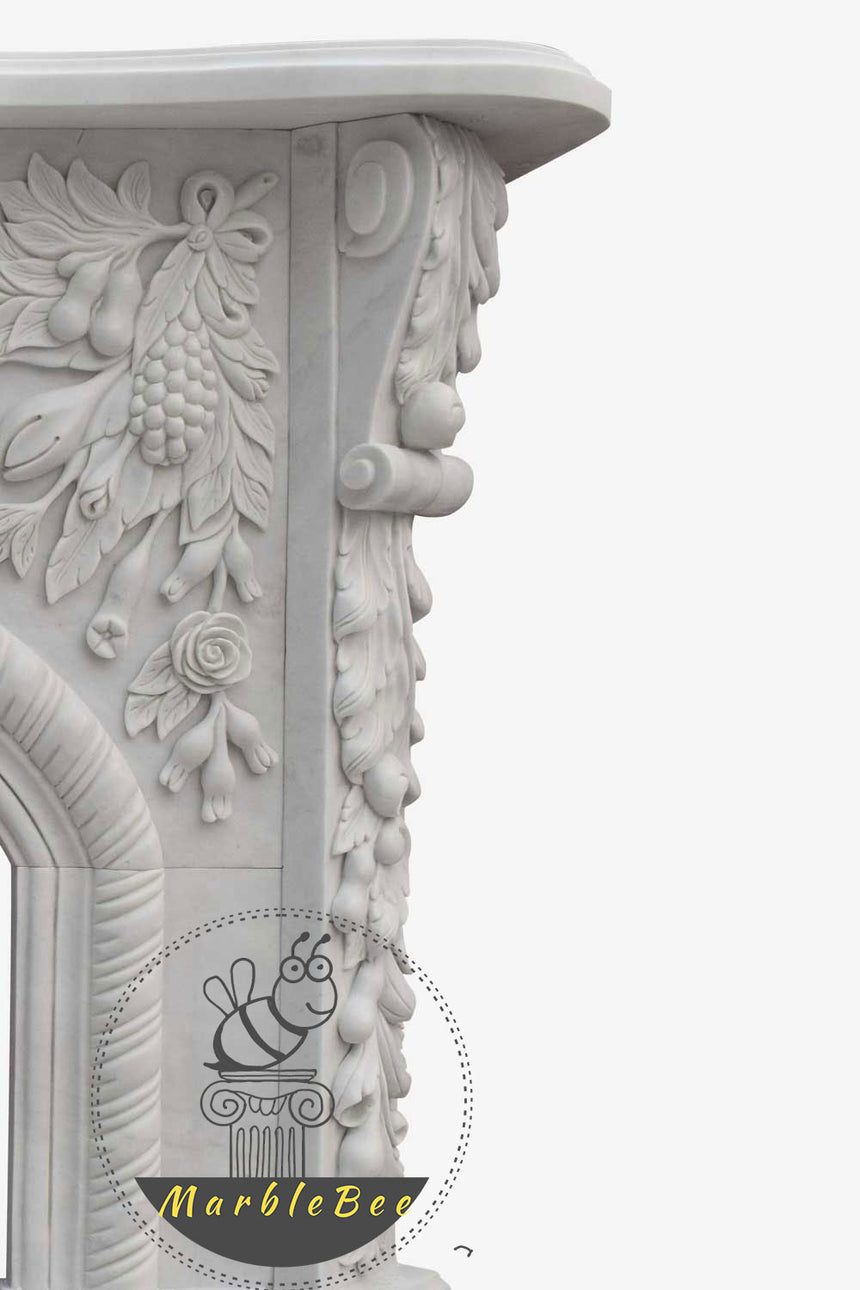 Victorian Statuary White Marble Fireplace Portal
