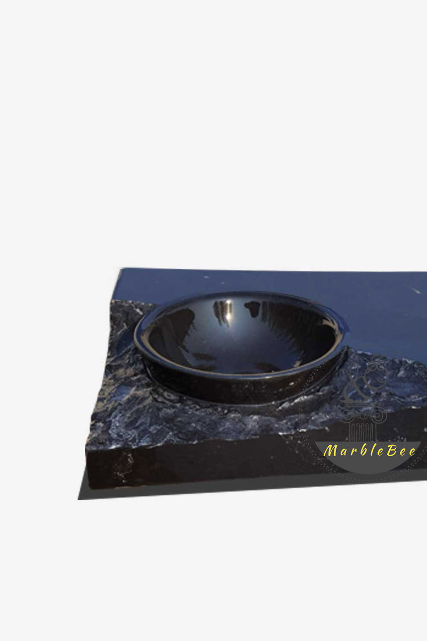 Black stone rectangular modern double sink
