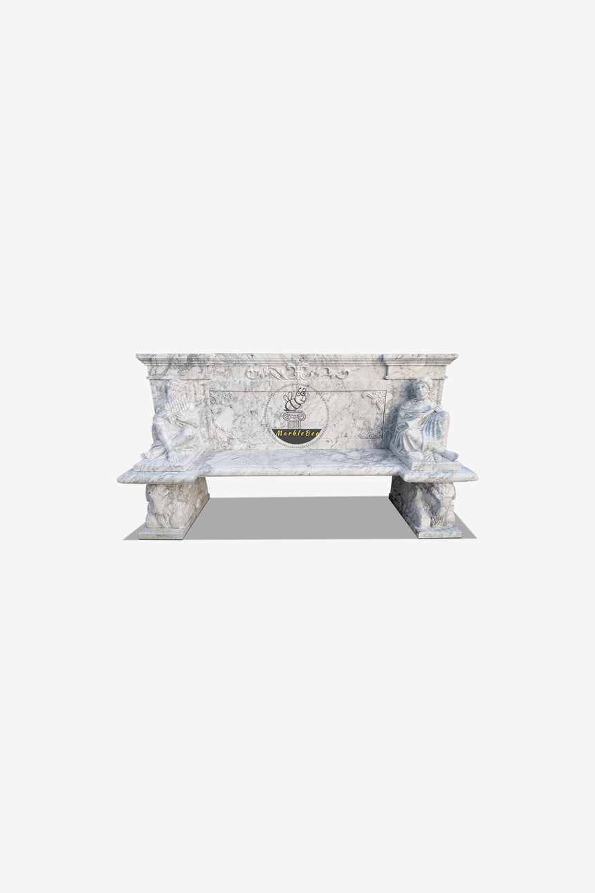 Carrara White Stone Bench for Garden