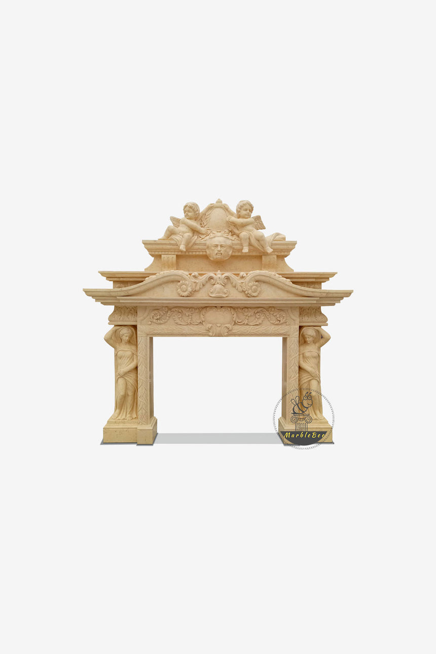 Double fireplace mantel