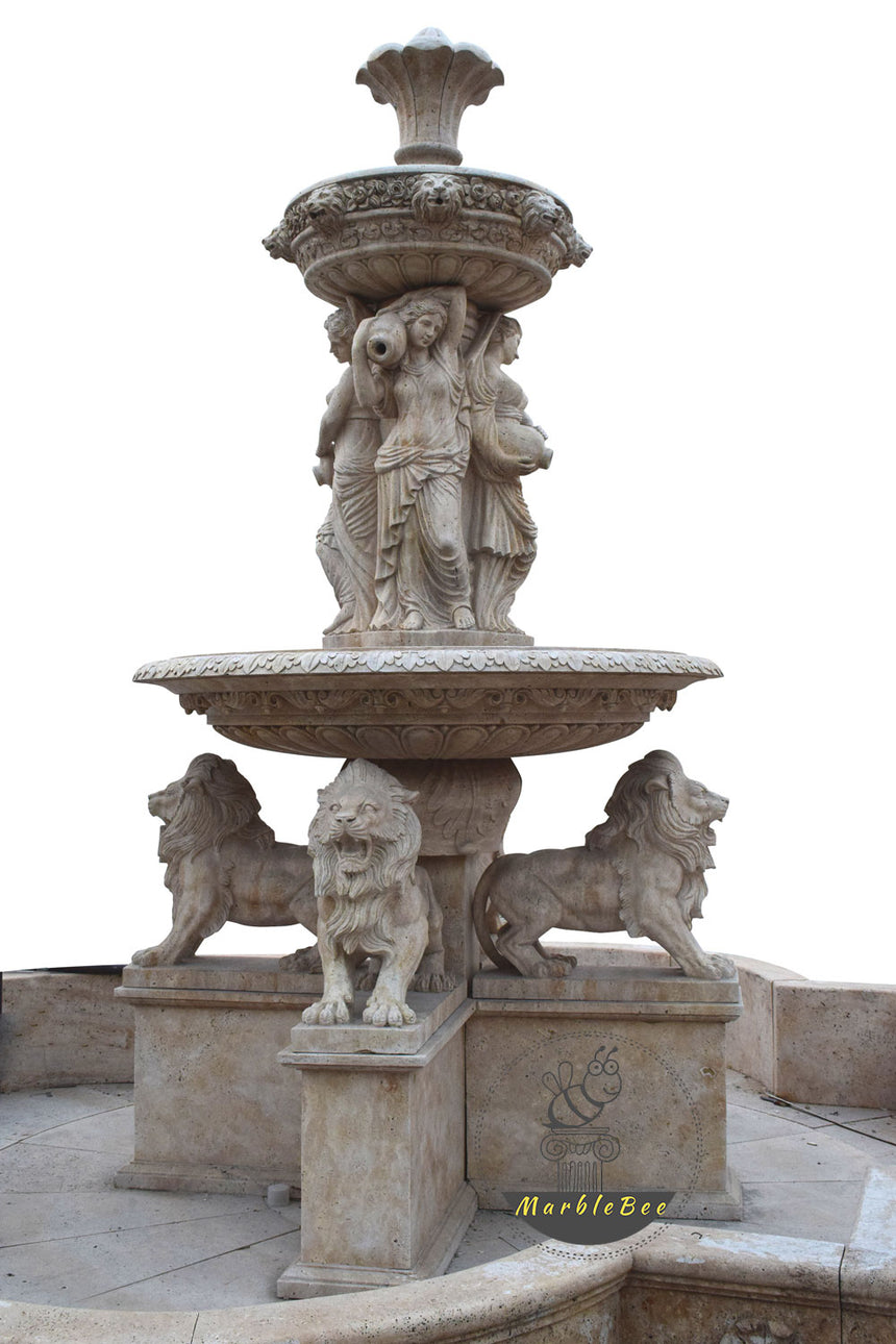 Large garden stone fountain with lion sculptures and lion head sprayer