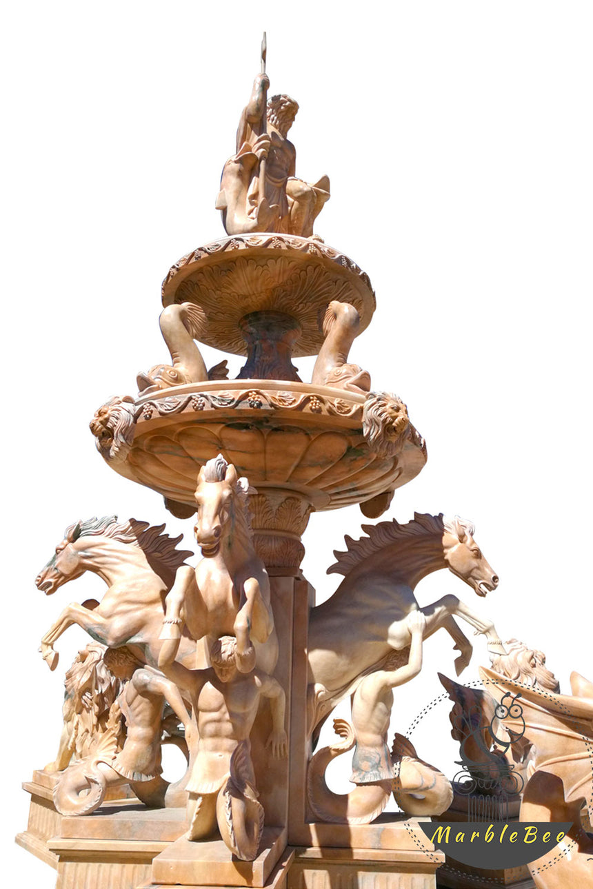 large stone fountain with horses greek gods statues