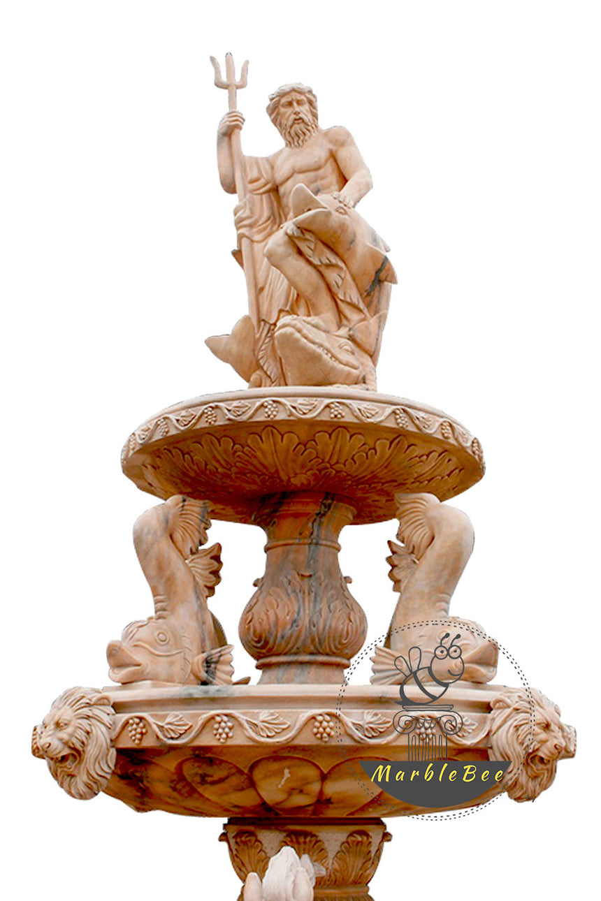 Stone Large fountain with Poseidon statue