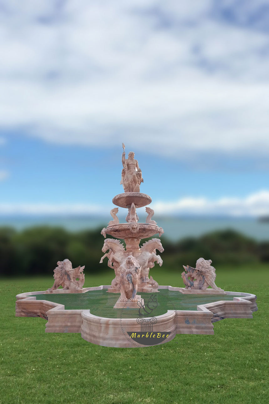 Extra large stone fountain with horses statues and Poseidon statues