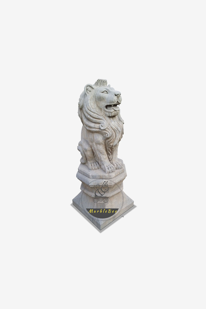 Grey Stone Lion Sculpture for Garden