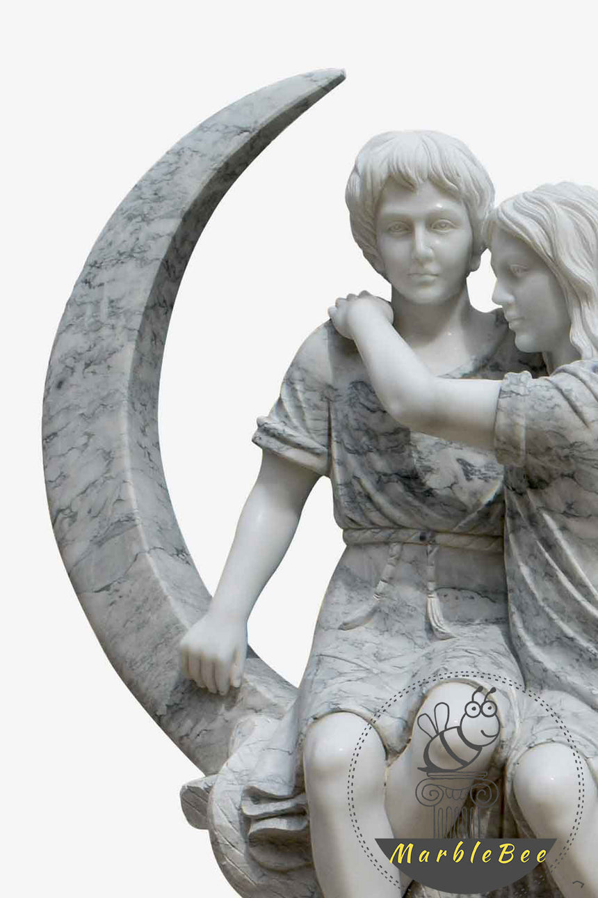 Lover over the moon Life Size Marble Statue