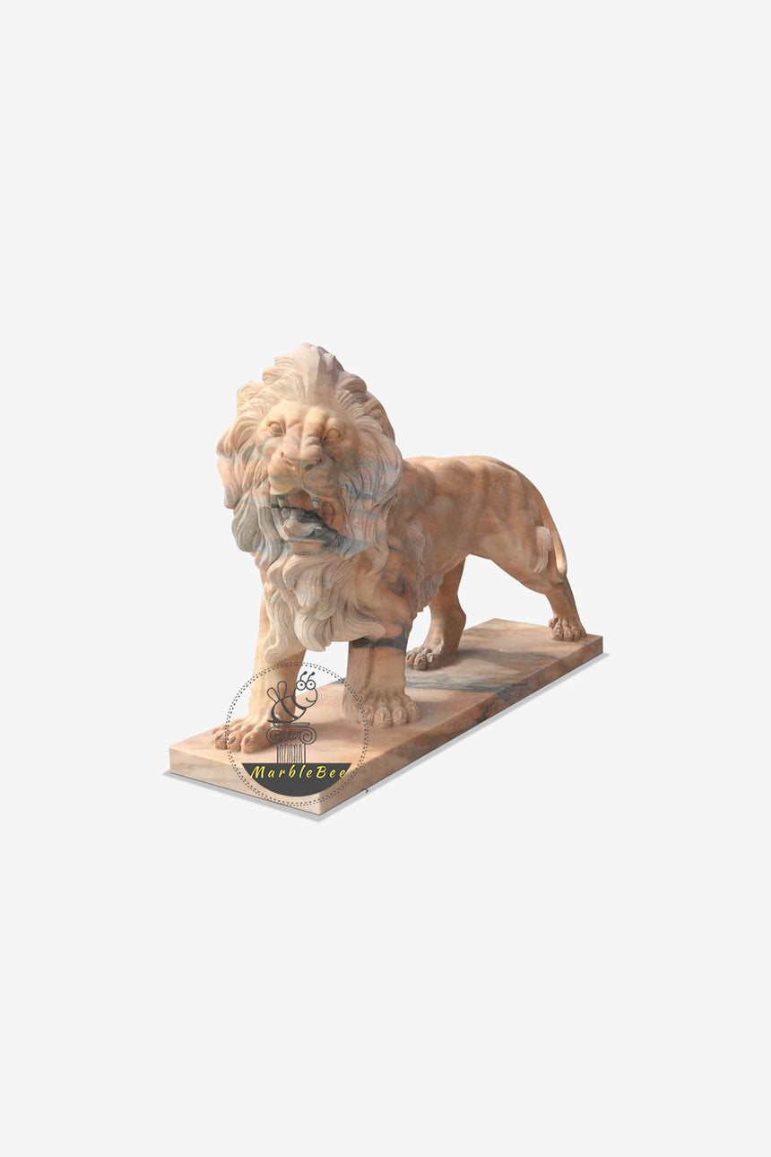 Lifesized Lion Sculpture Natural red stone