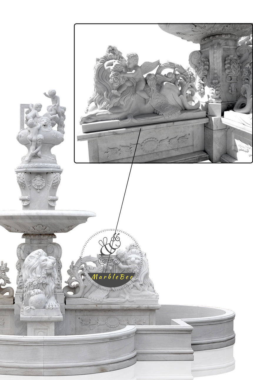 Large Stone fountain with delicate Lion statues