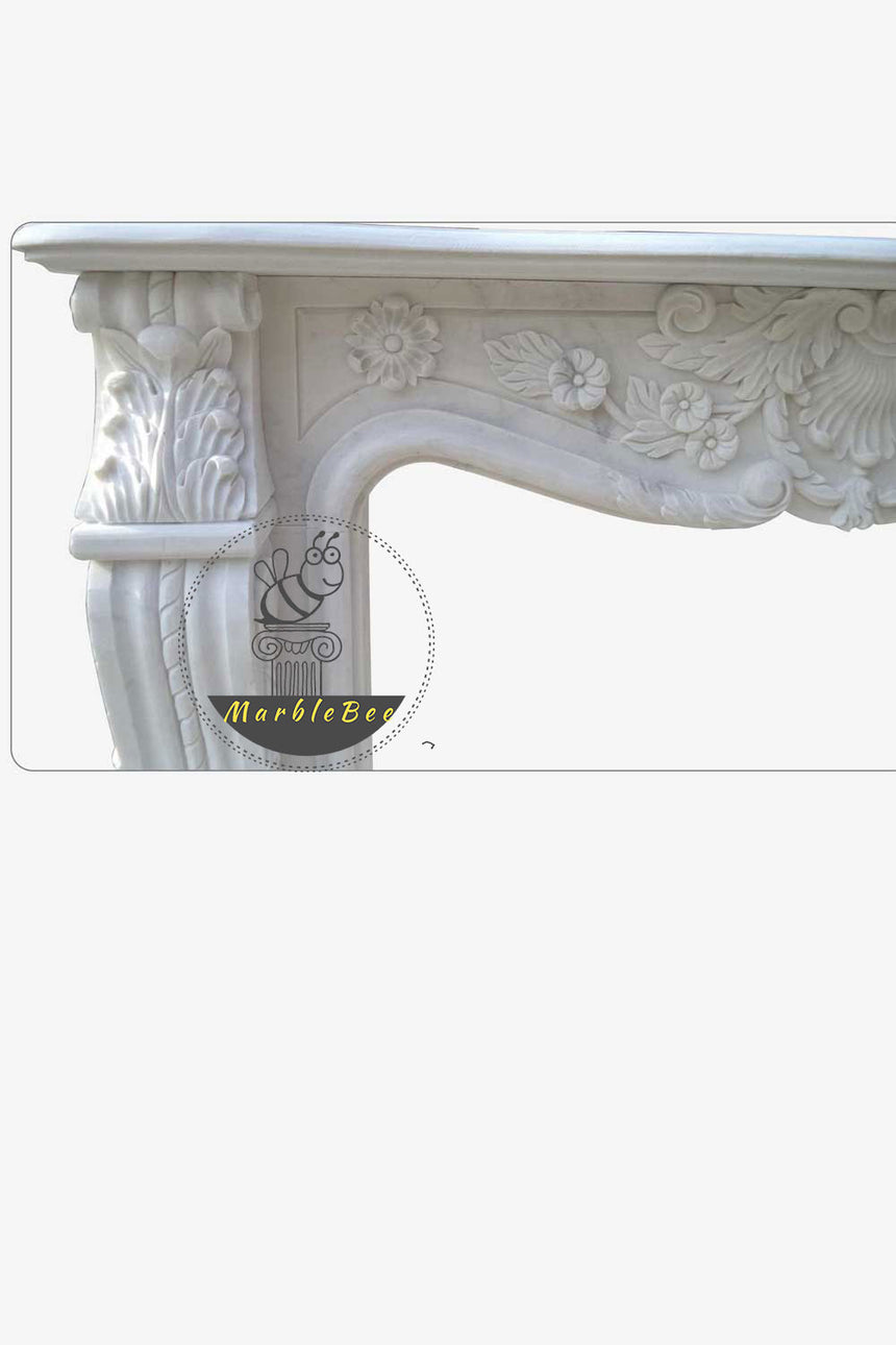White stone fireplace mantel