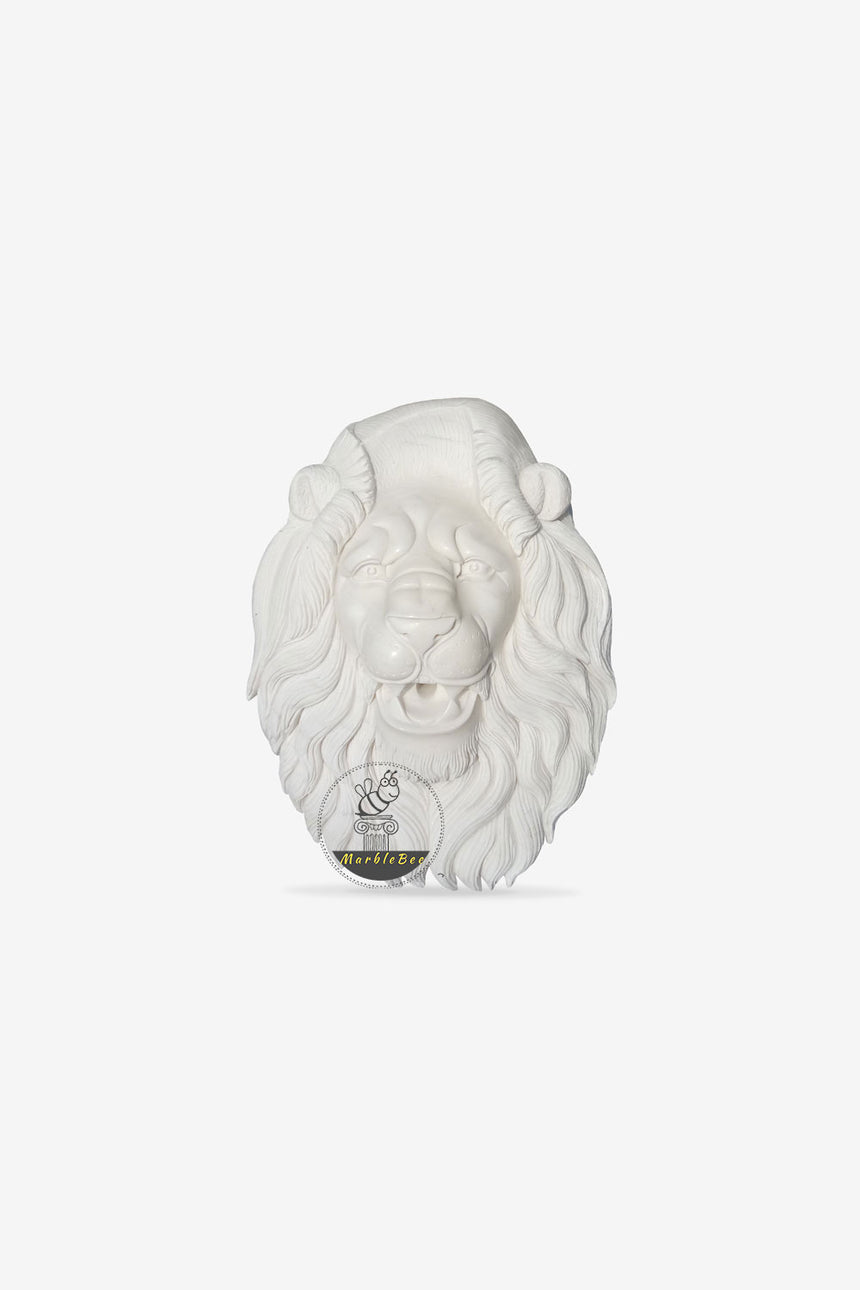 White Marble Lion Head-Customized Size