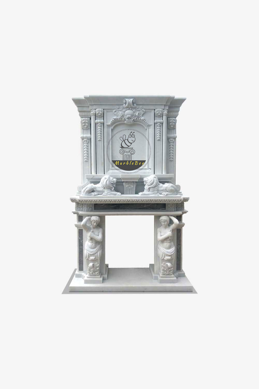 White Marble Two Story Fireplace