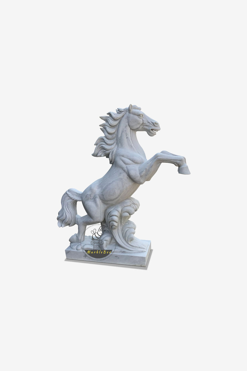 Large Life-size horse sculpture made of white Marble