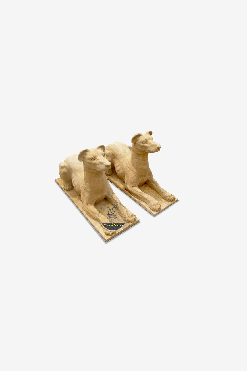 Dog Statue-Yellow Stone pair of dogs sculpture