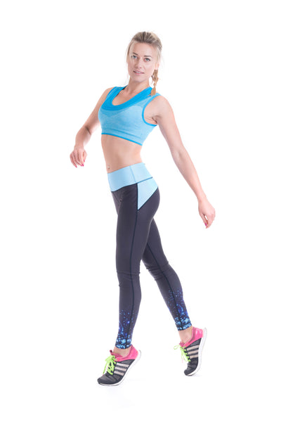 OT Seamless Vantastic Sports Layered Crop Top - Blue