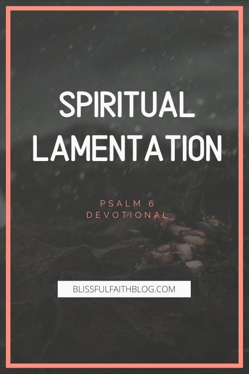"alt=""SPIRITUAL LAMETATION"" article by BLISSFUL FAITH BLOG with rain on flowers in background"