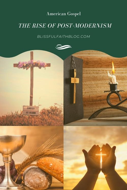 "alt=""THE AMERICAN GOSPEL"" article by BLISSFUL FAITH BLOG with a cross, a bible, bread and a cup, and hands making a cross towards the sky"