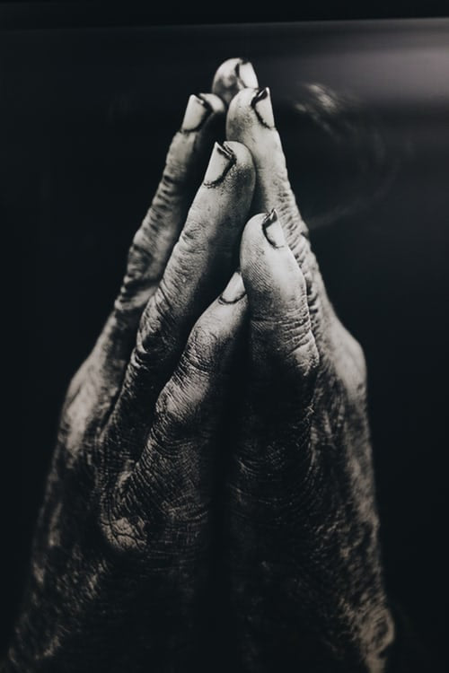 "alt=""grayscale photo of praying hands that show God is the portion"""