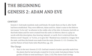 Genesis 2 Lesson: Adam and Eve
