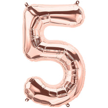 Load image into Gallery viewer, Rose Gold Foil Number Balloon with Helium