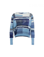 Lade das Bild in den Galerie-Viewer, HIGH Blue Linear Baumwollpullover