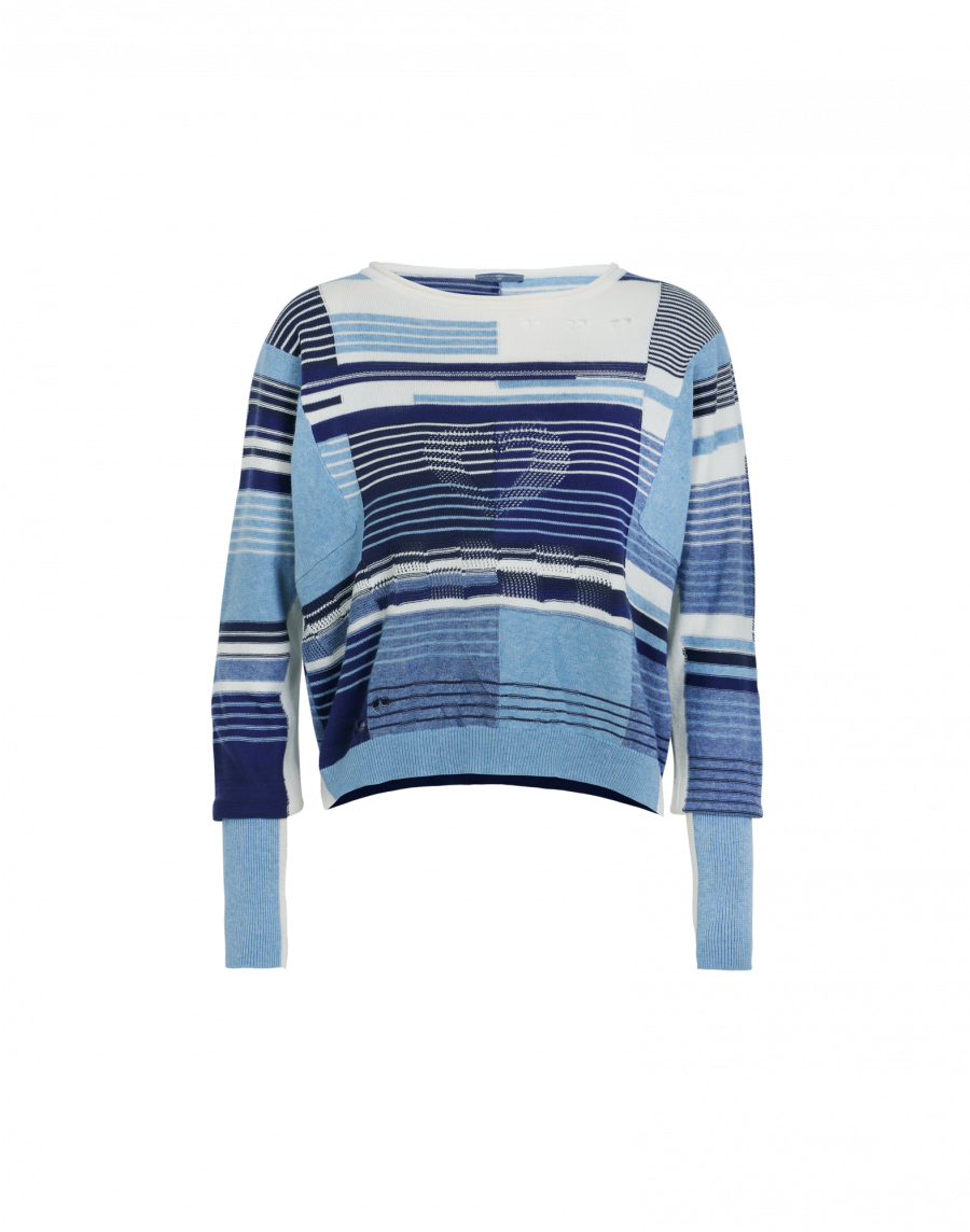 HIGH Blue Linear Baumwollpullover