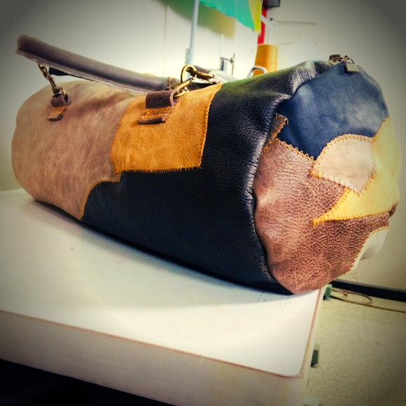 Patch Leather Duffle Barrel Bag