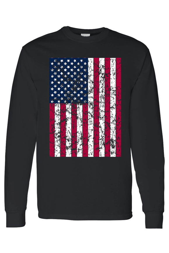 Long Sleeve Shirt | Men's/Unisex | Distressed Flag