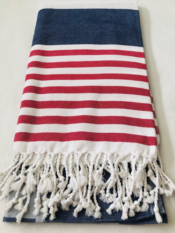 Red, White and Blue Smart Towel | 100% Natural Cotton