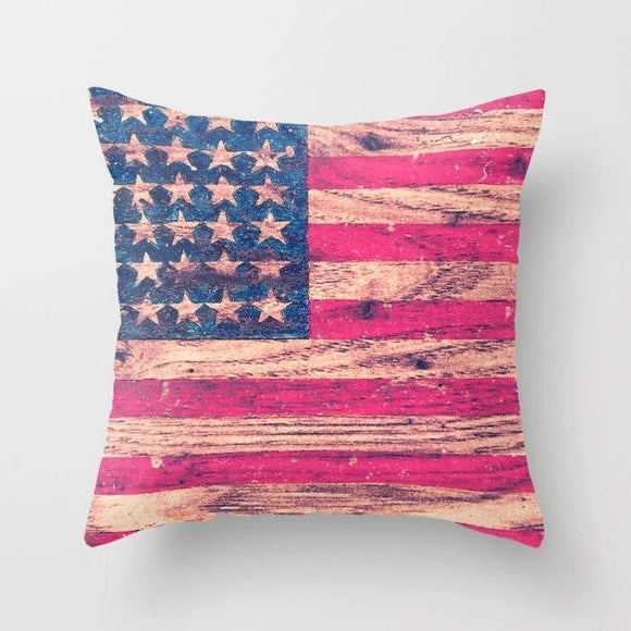 Throw Pillow Cover | Vintage American Flag On Wood