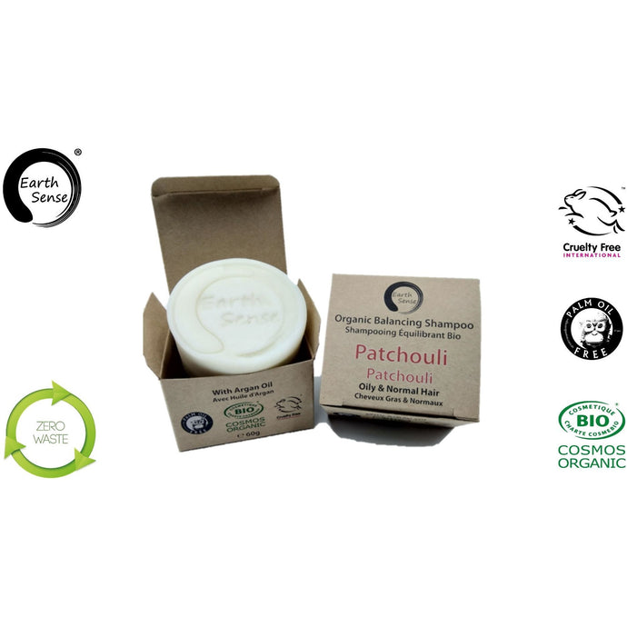 Earth Sense Organics - Organic Balancing Solid Shampoo - Patchouli - Oily & all Hair Types 60g