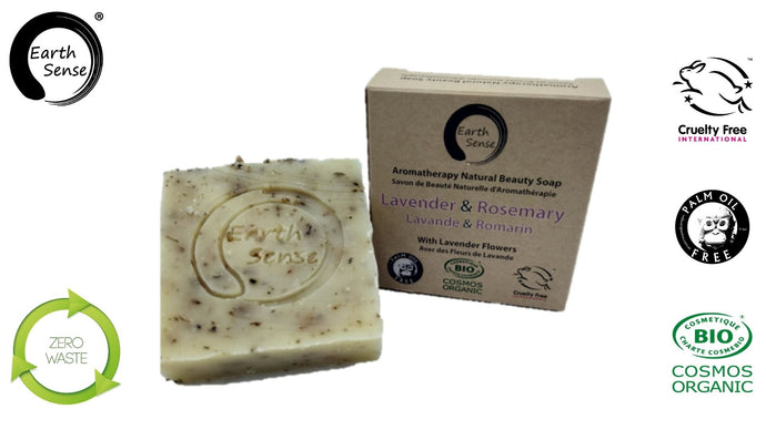 Earth Sense Organics - Organic Solid Soap - Lavender & Rosemary with Lavender flowers 100g