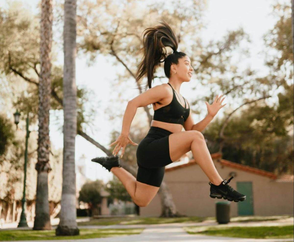 HIIT workout for women: woman exercising outdoors