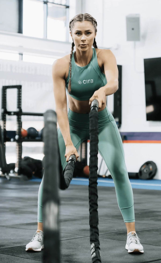 Woman doing rope exercise
