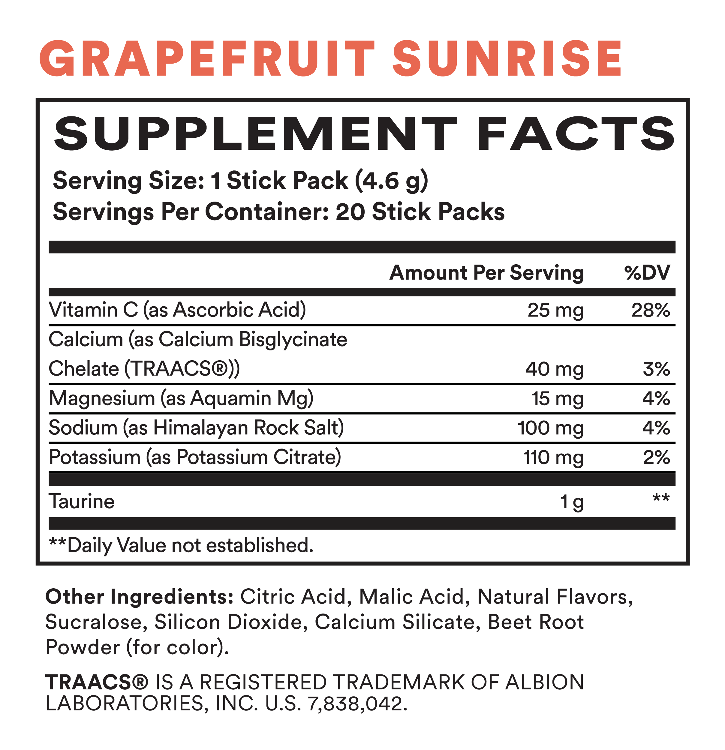 Supplement Facts for Cira Glow-Getter Hydration