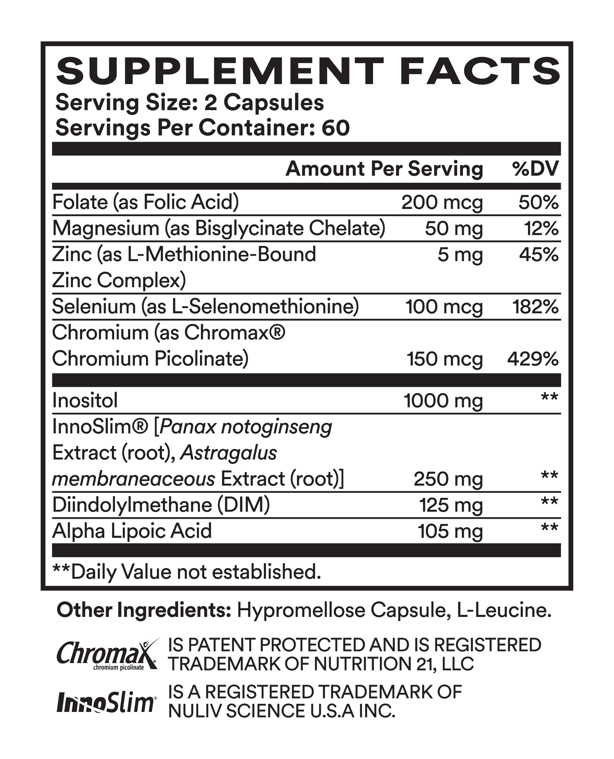 Supplement Facts for Cira Symmetry