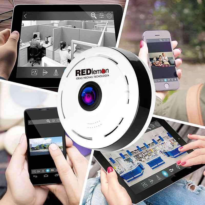 Cámara de Seguridad WiFi HD 360°, Visión Nocturna, Compatible con IOS Y Android Red Lemon