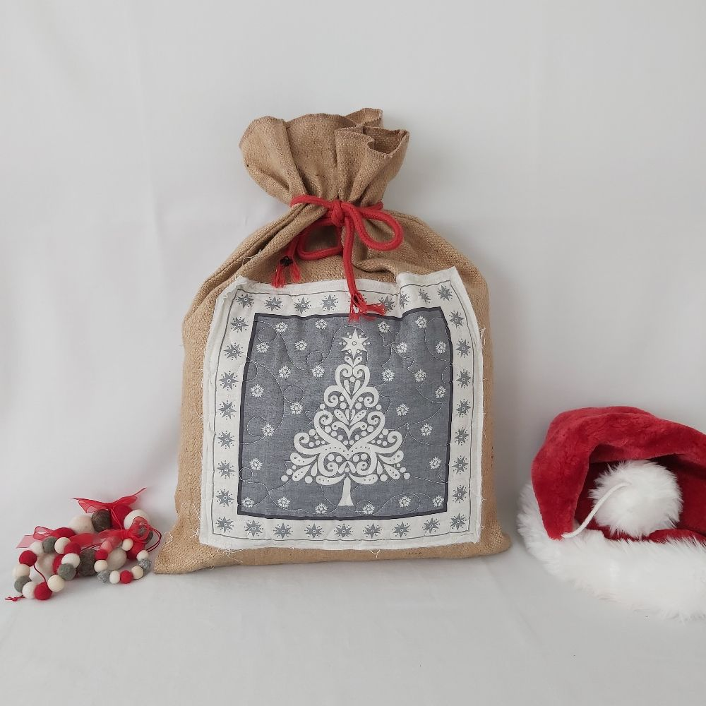 Quilted Scandi Panel hessian Gift Sack - Red Rope Tie