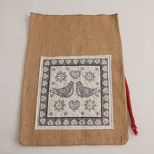 Load image into Gallery viewer, Quilted Scandi Panel hessian Gift Sack - Red Rope Tie