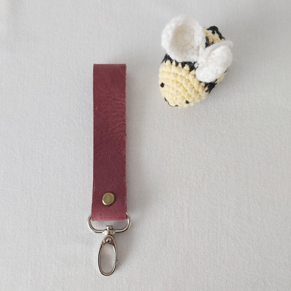 Red Leather Keyring - Wide