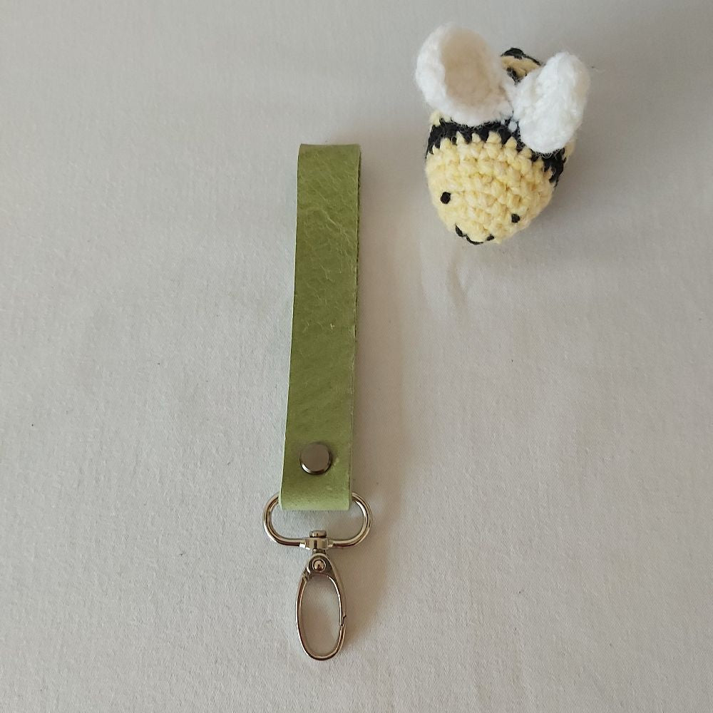 Green Leather Keyring - Narrow